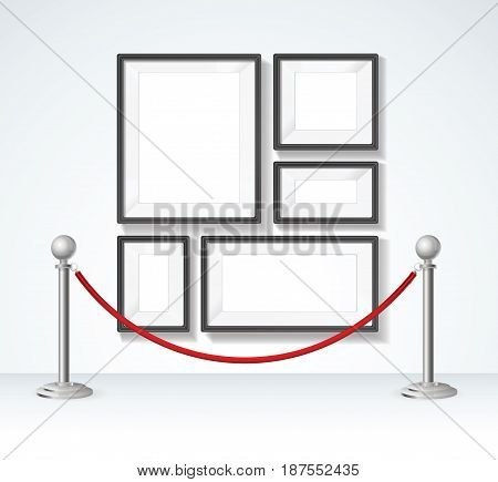 Picture Frame Set and Silver Rope Barrier Constructor Elements Exclusive Premiere Exhibition. Vector illustration