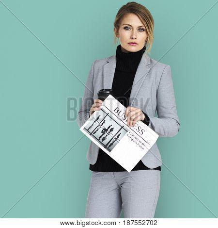 Caucasian Business Woman Newspaper Concept