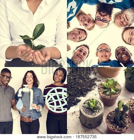 Set of Diversity People Planting Trees Environmental Friendly Studio Collage