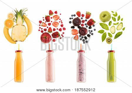 Different Healthy Smoothies In Bottles With Fresh Ingredients Isolated On White, Fresh Fruit Smoothi