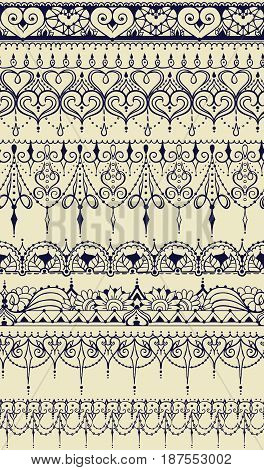 Sketch Of Endless Stripes In Henna Tattoo Style. Seamless Pattern.