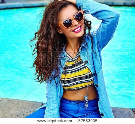 Model In Summer  Hipster Clothes Posing In The Street