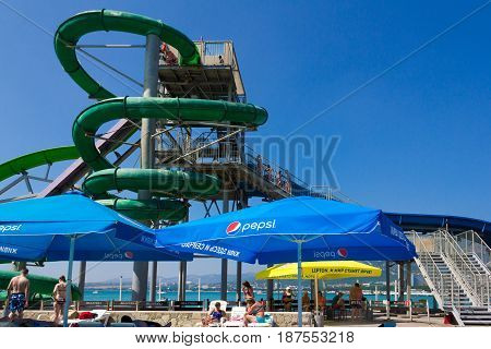 Gelendzhik Russia - July 30 2016 - Vacationers in the water park on the Black Sea coast people