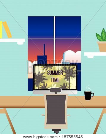 window summer desk poster background travel design