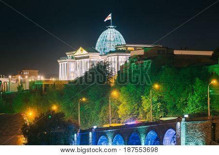 Tbilisi, Georgia. Presidential Administration Palace, Avlabari Residence In Night Illumination, Uptown Of Avlabari District. Famous Landmark