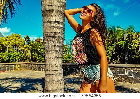Brunette Woman Model In Summer Hipster Bright Colorful Casual Clothes