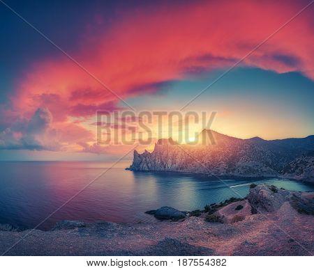 Amazing Mountain Landscape At Sunset
