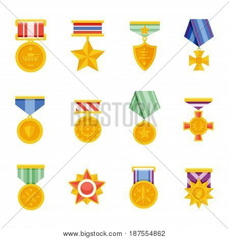 Military medals vector isolated icons in a flat style. Gold memorable military awards on a white background. Icons insignia and trophies.