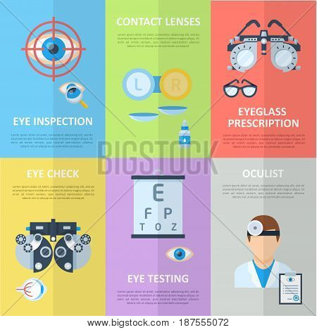 Ophthalmologist or oculist concept vertical banners in flat style. Correction and eye tests, prescription for glasses or lenses. Vector illustration.