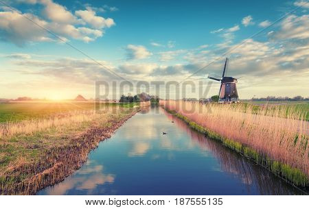 Windmills At Sunrise. Rustic Spring Landscape