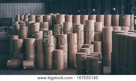 storage of paper rolls at a mill factory