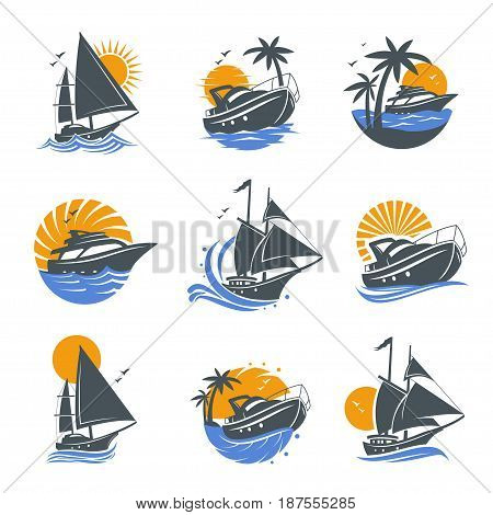 Set of yacht icons with waves and sun on a white background. The template for the logo of the yacht club, sailing or yacht race. Vector illustration of sea or water transport.
