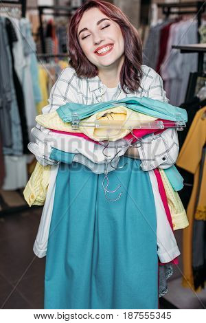 Young Hipster Girl Smiling In Boutique, Clothes Shopping Concept