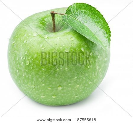Ripe green apple with water drops on it. Isolated on a white background.