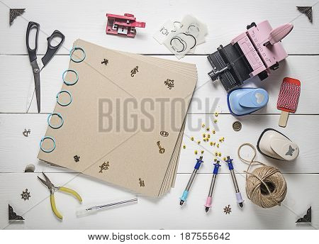 The Top Of The Page In A Scrapbook And Tools