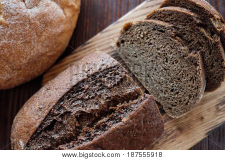 White and black homemade wheat bread fresh baked pastries