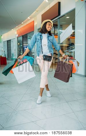 Happy Young Stylish Woman Walking With Shopping Bags, Boutique Shopping Concept