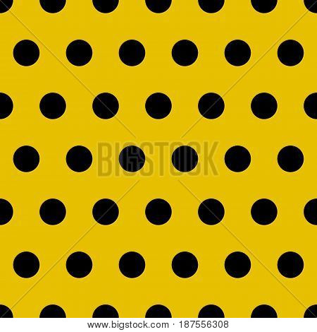 Vector abstract retro gold seamless pattern with black circle. Polka dots seamless pattern. Semless pattern for scrapbooking design, vintage pop art illustration and textile print
