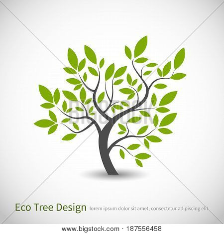 Tree logo concept of a stylized vector tree with leaves and branches, with space for text. Ecological logotype tree