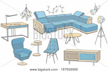 vector sketch of bright set of furniture for the living room in the modern elegant style, big corner blue sofa, armchair , lamps,  workplace, letters furniture