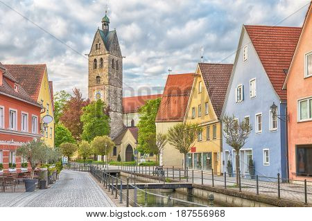Colorful houses and bell tower of church of Our Lady in Memmingen Bavaria Germany