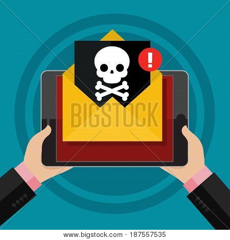 Concept of virus, piracy, hacking and security. The tablet with malicious content and skull on the screen. Flat design, vector illustration.
