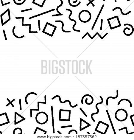 Black and white memphis abstract geometric shapes frame seamless pattern, vector background