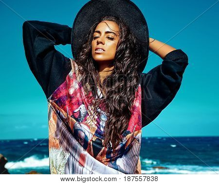 Model In Summer Hipster Casual Clothes