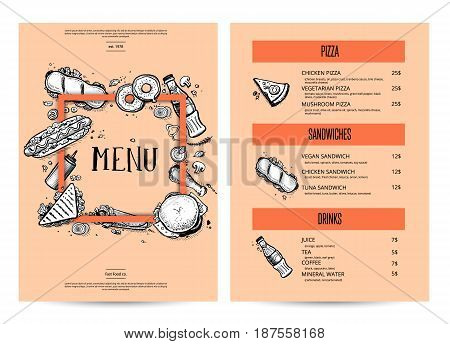 Vintage creative food menu with hand drawn graphic. Fast food vector layout with pizza, hot dog, sandwich, chicken, drink pencil doodles. Cafe price card of junk food with snack linear sketches.