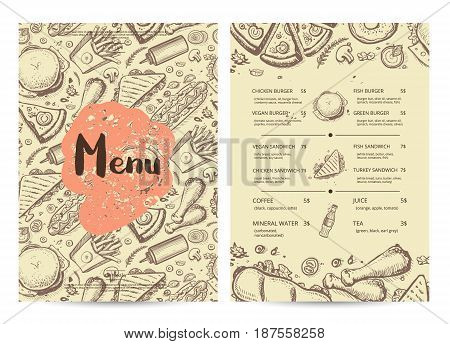 Hand drawn restaurant menu design. Cafe price catalog, junk food card with snack linear sketches. Snack vector brochure with hand drawn pizza, french fries, hot dog, chicken, drink pencil doodles.