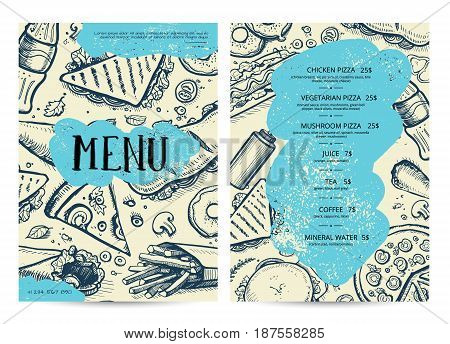 Restaurant and cafe food menu design. Hand drawn price catalog, junk food card with snack linear sketches. Fast food vector template with hand drawn pizza, hot dog, chicken, drink pencil doodles