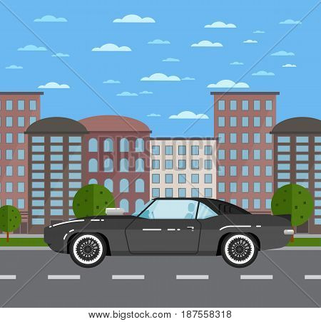 Classic muscle car in urban landscape. Vintage auto vehicle, old school hot road, people transportation concept. City street road traffic vector illustration, cityscape background with skyscrapers.