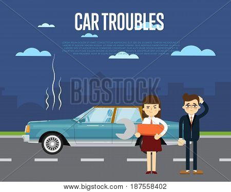 Car troubles banner with people standing near broken car on road. Vector illustration for automobile repair service, roadside assistance, car help. Road accident or car trouble in urban cityscape