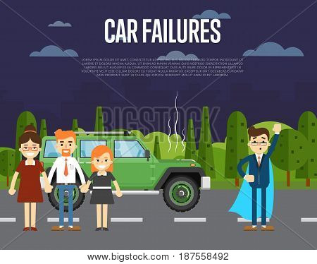 Car failures concept with people standing near broken car on road. Man in business suit and cape superhero. Roadside assistance, automobile repair service, road accident vector illustration.