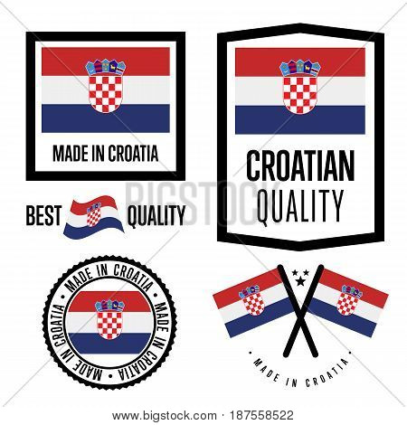 Croatia quality isolated label set for goods. Exporting stamp with croatian flag, nation manufacturer certificate element, country product vector emblem. Made in Croatia badge collection.