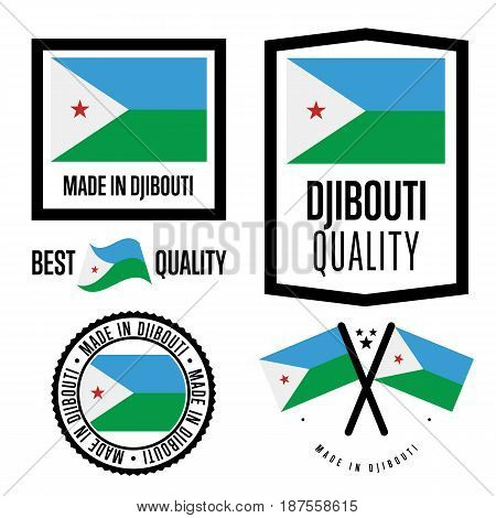 Djibouti quality isolated label set for goods. Exporting stamp with nation flag, manufacturer certificate element, country product vector emblem. Made in Djibouti badge collection.