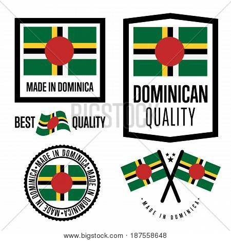Dominica quality isolated label set for goods. Exporting stamp with dominican flag, nation manufacturer certificate element, country product vector emblem. Made in Dominica badge collection.