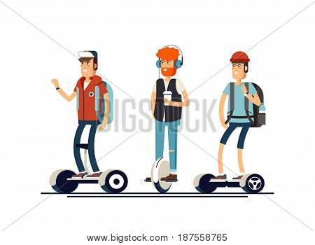 Set of active young man with electric scooter on new modern technology hoverboard, boy self balance wheel transport gyroscooter ride the street. Vector flat illustrator
