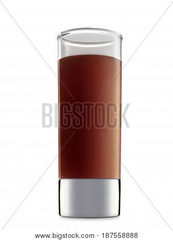 Original Irish Cream Liqueuron alcohol cocktail or chocolate mocktail in shot glass with brown beverage isolated on white background