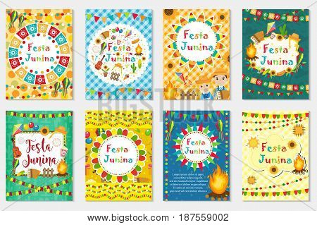 Festa Junina set greeting card, invitation, poster. Brazilian Latin American festival template for your design.Vector illustration