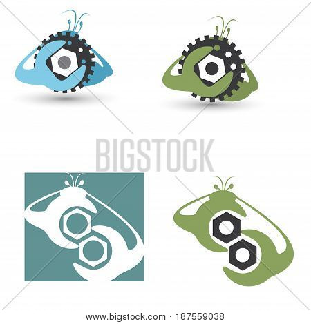 Vector illustration of four images in the form of crabs with spanners