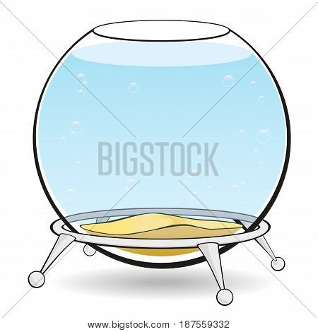 Aquarium on a white background. A round aquarium for fish with blue water and bubbles on the stand. Vector illustration.