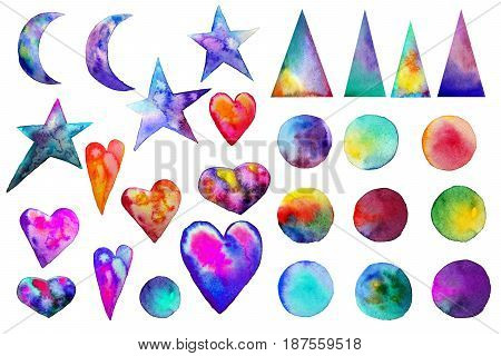 illustration. . Colorful watercolor splashes isolated on white background. Rainbow blots. Hand drawn geometric elements triangles hearts moon stars. Bright and teen. Brush paint. Set of colored spots