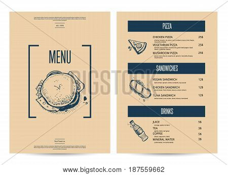 Restaurant fast food menu in retro style. Vintage food design template, junk food card with linear sketches. Delicious meal vector illustration with hand drawn pizza, hot dog, burger pencil doodles