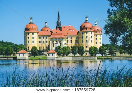 Castle Moritzburg in Saxony near Dresden. Pond reflection with some reeds in foreground. Springtime. Germany.