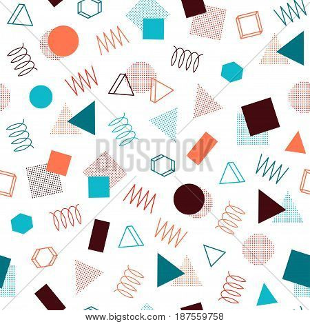 Retro memphis geometric line shapes seamless patterns. Hipster fashion 80-90s. Abstract jumble textures. Zigzag lines. Triangle. Memphis style for printing, website, poster.