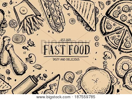 Fast food retro advertising background. Cafe price catalog, junk food retro poster with snack linear sketches. Restaurant menu cover vector illustration with hand drawn pizza, french fries, hot dog.