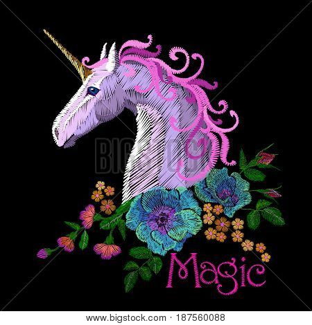 Fantasy Unicorn Embroidery Patch Sticker. Pink Violet Mane Horse Flower Arrange Poppy Rose Ornament.