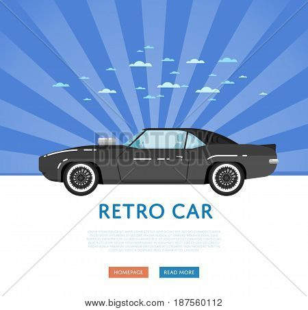 Website design with classic muscle car. Vintage old school hot road, auto vehicle on blue striped background banner. Auto business, sale or rent transport online service vector illustration concept