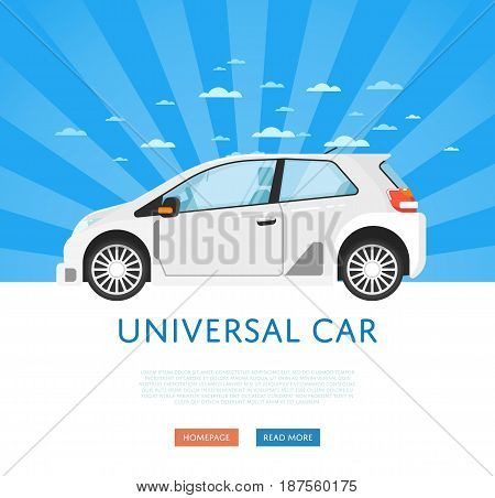 Website design with universal city car. Comfortable family car on blue striped background, modern auto vehicle banner. Auto business, sale or rent transport online service vector illustration concept